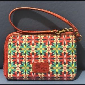 Fossil genuine leather red floral wristlet